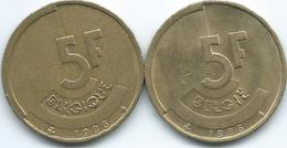 Belgium - Baudouin - 5 Francs - 1986 - French (KM163) & Dutch (KM164) - 1951-1993: Baudouin I