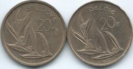 Belgium - Baudouin - 20 Francs - 1981 - French (KM159) & 1980 - Dutch (KM160) - 07. 20 Francs