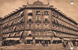 """0375 """"HOTEL COSMOPOLITE - COPENAGHEN"""" ANIMATA, CICLISTI. CART. ORIG. SPED. 1930 - Danimarca"""