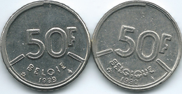 Belgium - Baudouin - 50 Francs - 1990 - French (KM168) & 1989 - Dutch (KM169) - 1951-1993: Baudouin I