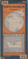 Carte MICHELIN N° 54 - Cherbourg - Rouen - Roadmaps