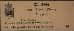 Altdeutschland Quittung Sieben Pfennig Wegegeld Mit Brustschild U. Adler - Deutschland