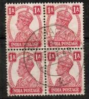 INDIA  Scott # 171 VF USED BLOCK Of 4 (Stamp Scan # 485) - 1936-47 King George VI
