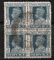 INDIA  Scott # O 105 VF USED BLOCK Of 4 (Stamp Scan # 485) - 1936-47 King George VI