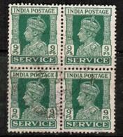 INDIA  Scott # O 107 VF USED BLOCK Of 4 (Stamp Scan # 485) - 1936-47 King George VI