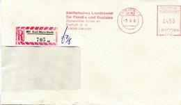 """(Gm-2) DDR Dienst-Einschreibbrief (EBF Spätverwendung) """"901 KARL-MARX-STAST""""AFS 450(Pf) DEUTSCHE BP 5.8.92 CHEMNITZ - [6] République Démocratique"""