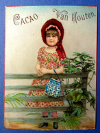 CHROMO GRAND FORMAT CHOCOLAT VAN HOUTEN....ENFANT..CHAPEAU....BARRIÈRE... SACCOCHE - Van Houten