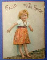 CHROMO GRAND FORMAT CHOCOLAT VAN HOUTEN....ENFANT..PETITE FILLE ...JUPE A RAYURES - Van Houten