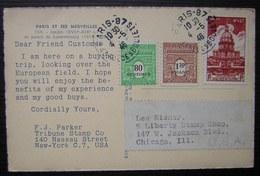 1946 Jolie Oblitération Sur Lettre De Parker Tribune Stamp (New York) à Liberty Stamp Shop Chicago (USA) Cachet De Paris - 1921-1960: Période Moderne