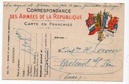 FRANCHISE MILITAIRE  CORRESPONDANCE DES ARMEES DE LA REPUBLIQUE  MODELE A1  POUR H LEROUX BRETEUIL 1915 - Cartes De Franchise Militaire