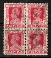 INDIA  Scott # O 108 VF USED BLOCK Of 4 (Stamp Scan # 486) - 1936-47 King George VI