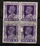 INDIA  Scott # O 110 VF USED BLOCK Of 4 (Stamp Scan # 486) - 1936-47 King George VI