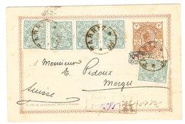 Iran UPRATED POSTAL CARD SENT FROM Tabriz To Switzerland 1903 - Iran