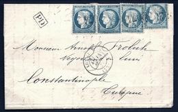 CP 3- RARE LETTRE SEPT 1871 DE LONGJUMEAU POUR CONSTANTINOPLE- 4 TIMBRES N° 37 SIÈGE 20 Ct DONT PAIRE- 4 SCANS - Marcophilie (Lettres)