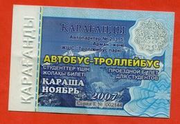Kazakhstan 2007. City Karaganda. November Is A Monthly Bus Pass For Students. Plastic. - Season Ticket