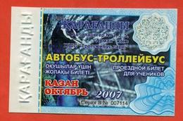 Kazakhstan 2007. City Karaganda. October Is A Monthly Bus Pass For Schoolchildren. Plastic. - Season Ticket