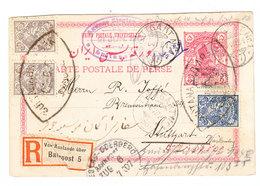 Iran REGISTERED UPRATED POSTAL CARD SENT TO Germany 1907 - Iran