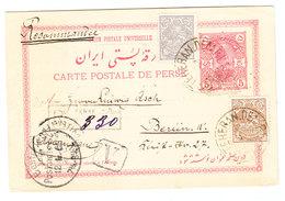 Iran REGISTERED UPRATED POSTAL CARD SENT TO Germany 1902 - Iran