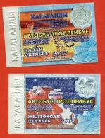 Kazakhstan 2007. City Karaganda. October And Decebre Is A Monthly Bus Pass For Schoolchildren. Plastic.Two Tickets. - Season Ticket