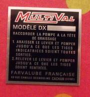 Plaque Métal Publicitaire MultiVal. Farvalube Française. Cachan. Autocollant. Vers 1970 - Advertising (Porcelain) Signs
