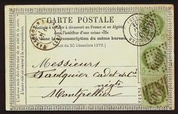 CP 3- CARTE PRECURSEUR DE 1873- 3 TIMBRES CERES N° 53 à 5ct  DONT PAIRE- TARASCON/ARIEGE POUR MONTPELLIER- 3 SCANS - Marcophilie (Lettres)