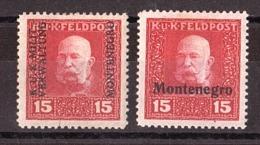 Montenegro - Occupation Austro-hongroise - 1917 - N° 2 Et 4 - Neufs * - Surchargés - Montenegro