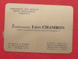 Plaque Métal Publicitaire Calendrier 1960. établissements Léon Chambon. Impression Sur Métaux. - Autres