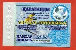 Kazakhstan 2008. City Karaganda. January  - A Monthly Bus Pass For Schoolchildren. Plastic. - Season Ticket