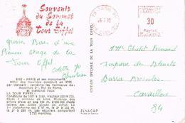 PARIS VII - Rue Clerc - Souvenir Du Sommet De La Tour Eiffel  26/7/1970 - EMA Rouge Et Tampon à Sec 800 - EMA (Printer Machine)
