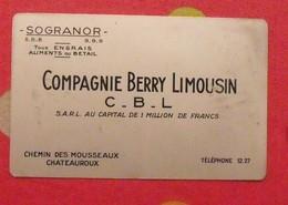 Plaque Métal Publicitaire Calendrier 1951. Compagnie Berry Limousin. Sogranor. Engrais Aliments Bétail. Chateauroux - Plaques Publicitaires