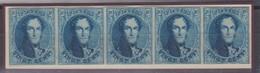 Timbre 20c  BANDE DE 5 Margée 1861 N°11 Neuf Voir Certif P. Kaiser Joint Prix Net - 1858-1862 Médaillons (9/12)