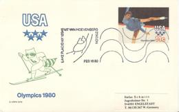 USA Used Olympic Cross Country Stationery Card With Olympic Cancel Hoevenberg - Hiver 1980: Lake Placid