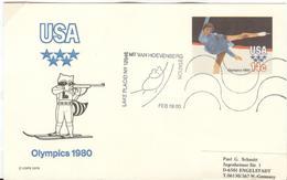 USA Used Olympic Biathlon Stationery Card With Olympic Cancel Hoevenberg - Hiver 1980: Lake Placid