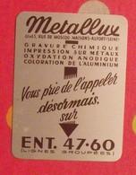 Plaque Métal Publicitaire Calendrier 1955. Métallux. Gravure Chimique Impression Sur Métaux - Plaques Publicitaires