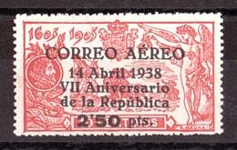 Espagne - 1938 - PA N° 186 - Neuf * (trace Infime De Charnière) - TP Don Quichotte Surchargé - Poste Aérienne
