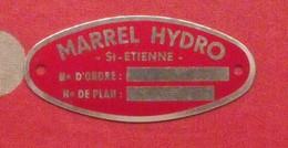Plaque Métal Publicitaire Marrel Hydro. Vers 1960 - Autres