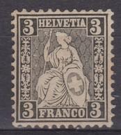 SUISSE 1874:  Le 3c. Noir, Papier Blanc, Neuf (*) - 1862-1881 Zittende Helvetia (getande)