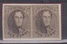 Timbre 10c PAIRE Margée 1861 N°10 Neuf Voir Certif P. Kaiser Joint Prix Net - 1858-1862 Médaillons (9/12)