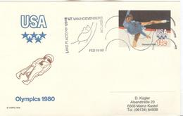 USA Used Olympic Luge Stationery Card With Olympic Cancel Hoevenberg - Hiver 1980: Lake Placid