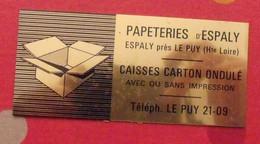 Plaque Métal Publicitaire Papeteries D'Espaly Près Le Puy (Hte Loire). Caisses Carton Ondulé. Vers 1960 - Autres