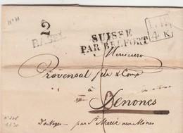 SUISSE PAR BELFORT En NOIR Sur 2 Lignes Du 18 Janvier 1830  Noel 228 B - Marques D'entrées