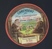 """Etiquette Fromage Camembert Des Fins Connaisseurs 45%mg Fabriqué Dans La Vallée De L'orne F57 """"moines"""" - Fromage"""