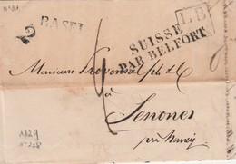 SUISSE PAR BELFORT En NOIR Sur 2 Lignes Du 28 Decembre 1829  Noel 228 B - Marques D'entrées
