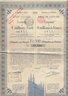 Obligatie Lening Stad LEUVEN 1918 Met Nog 2 Coupons Aangehecht (N238) - Autres
