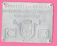 Modena PNF 1929 Targa Lamierino Mezzi Agricoli S. Johnson - Placas De Matriculación