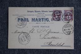 SENTIER - Carte Publicitaire, Paul MARTIG, Horlogerie, Orfèvrerie, Bijouterie. - VD Vaud