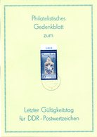 """(Gm-2) DDR Gedenkblatt """"Letzter Gültigkeitstag Von DDR-Postwertzeichen"""", EF DDR Mi 3241 TSt. 02.10.90 SCHWEDT - [6] République Démocratique"""