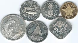 Bahamas - Elizabeth II - 1971 - 1, 5, 10, 15 & 25 Cents; 1972 - 50 Cents (KMs 16-21) - Bahamas