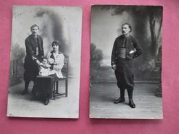 2 Cartes Photo De G. Caspari 24, Rue Arzew A ORAN - ZOUAVE Tirailleur Spahis Seul & Avec Femme Et Enfant - TBE - Regiments