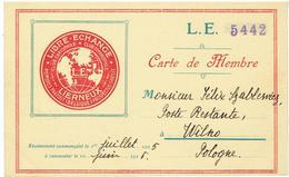 Liége Lierneux Carte De Membre Club Cartophile L.E. 5442 - Abonnement 1925/26 - Szablewiez, Wilno Pologne - België